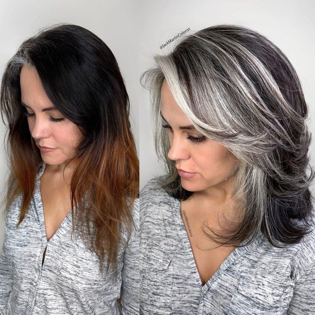 capelli con ciocche argentate