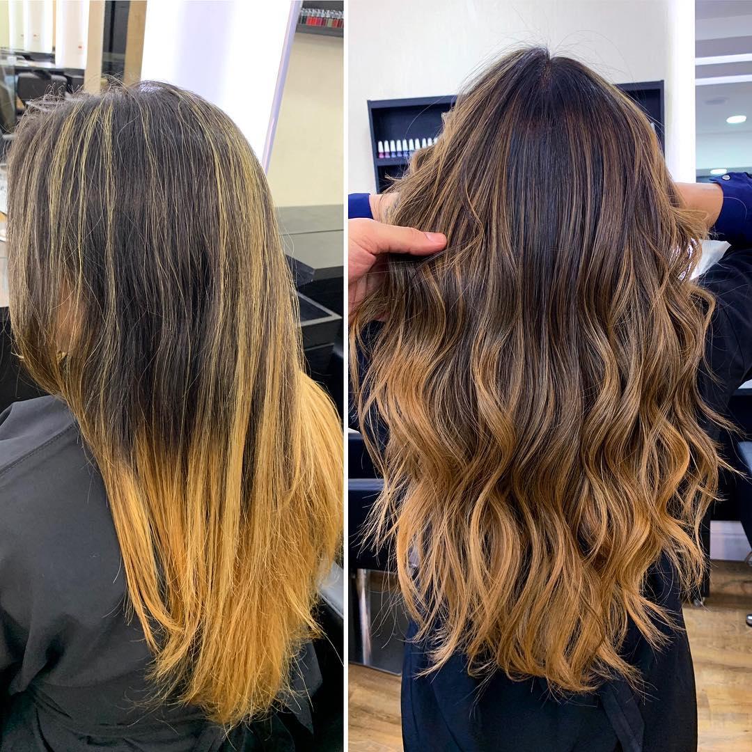 prima e dopo capelli degrade scuro