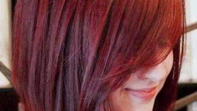 Bob asimmetrico rosso brillante